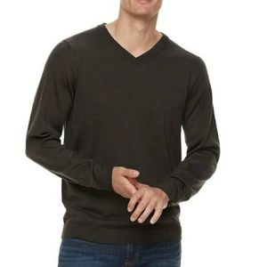 Apt 9 Men's Slim Fit Dark Green Wool V Neck